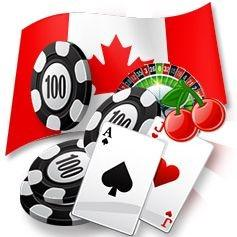 The Canadian flag with a roulette wheel, a perfect blackjack hand and chips